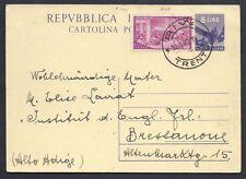 STORIA POSTALE REPUBBLICA 1949 Intero 8L da Riva a Bressanone (INO)