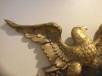 Vintage American Eagle L 38 H 16 Americana Gold Color