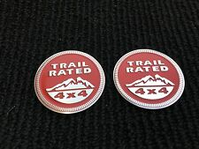 2X NEW JEEP RED TRAIL RATED 4X4 I TRUNK TAILGATE I FENDER EMBLEM BADGE LOGO 2PC