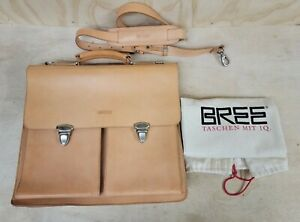 BREE  GERMANY Thick Saddle Natural Leather Briefcase / Attache / Messenger Bag