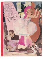Grand Hotel MGM Movie Program 1932 Greta Garbo Joan Crawford John Barrymore