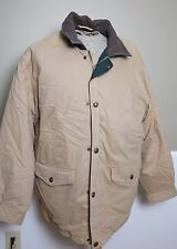 EUC Woolrich Leather Collar Flannel Lined Insulated Parka Men's Size Large Tan