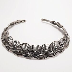 Brutalist Braided Silver Metal Collar Statement Unique Egyptian Revival Gift