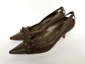 VALENTINO Gravani  Brown Leather Flower Pointed Toes Heel Shoes Size 37 IT