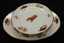 Vintage JWK Bavaria Western Germany Lobster Kuba Shell large Platter & 6 Plates