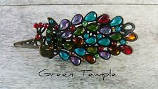 ABSOLUTELY GORGEOUS OLD FASHIONED ANTIQUE GATSBY STYLE JEWEL PEACOCK HAIR CLIP