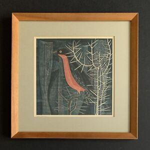 Mid-Century Modern EMILE NORMAN Signed Bird Print GONOLEK 1966 MCM