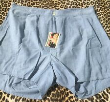 French 1940s Men Boxer Shorts Underwear~Cinch Back~Pleated Front~Blue Cotton~W38