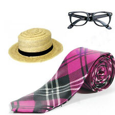 Pink Tartan Full Tie Nerd Glasses Straw Boater Hat Set School Girl Fancy Dress