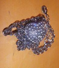 Locket secret comp. HEART VINTAGE Silver diamonte Necklace chain- NZ Estate
