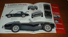 ★★ 1963 Shelby AC Cobra 289 Originale Imp Brochure Specifiche Info Poster 63 64