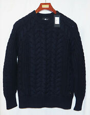 7 for all Mankind Super Heavy Cable Knit Crew Neck Jumper Sz XL Made Italy £400