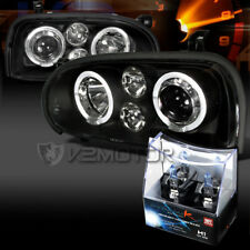 For 93-98 VW Golf MK3 Black Halo Projector Headlights+H1 Halogen Bulbs