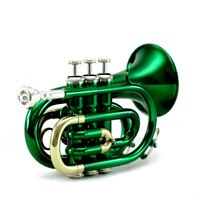 Top Quality Bb Green Plated Brass Pocket Trumpet w Strong Case 7c Mouthpiece