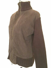 Adolfo Dominguez Small Women's Jacket Zip Front Suede Knit Brown