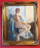 ORIGINAL MALCOM CUDMORE FEMALE NUDE PAINTING,  DATED