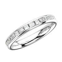 1.10 Ct Channel Set Princess & Baguette Cut Diamond Full Eternity Ring 18K Gold
