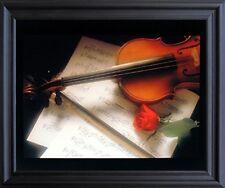 Violin & Music Sheet Red Rose Flower Picture Black Framed Art Print (19x23)