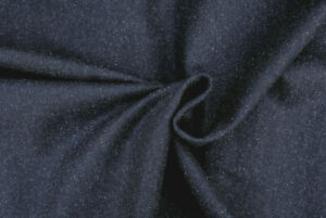 WOOL & CASHMERE NAVY BLUE MELANGE MELTON LUXURY TAILORING MADE IN ITALY D239