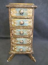 H7 Italy Florentia Gilt Wooden 5 Drawer Jewelry Box