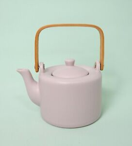 Cha & Co, London pink glazed teapot with infuser - tea leaf, green tea etc