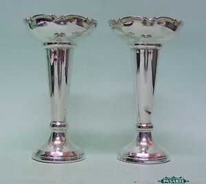Pair Of Sterling Silver Posy Vases By James Dixon & Sons Sheffield England 1962