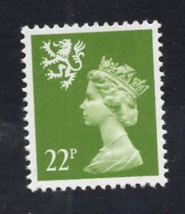 Scotland. S48a. 22p yellow-green Type II. Fine unmounted mint. FREEPOST!