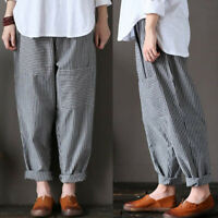 ZANZEA UK Women Striped Elastic Waist Wide Leg Harem Pants Casual Loose Trousers