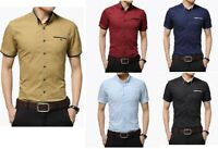 Men's Casual Shirt Button Down Slim Fit Short Sleeve Formal Shirts DC28