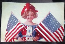 Antique Postcard Patriotic, Shirley Temple Look-a-like Holding Two 48 Star Flags