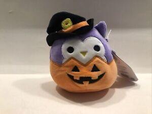 "Kellytoy Squishmallows HOLLY OWL WITCH IN PUMPKIN 4"" Halloween 2021 Mini Plush"