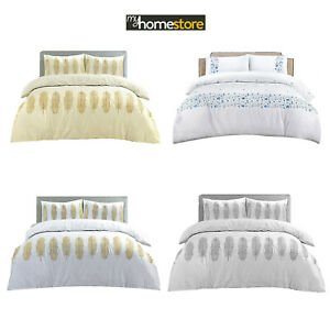 Embroidered Duvet Quilt Cover Bedding Set Single Double King Size white & Cream
