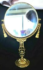 Hollywood Regency Gold Gilt Vintage Vanity Double Mirror Swivels