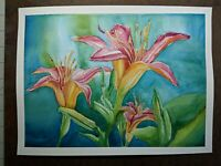 "Beautiful Watercolor Painting 12""x 9"" Lilies"