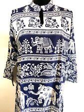 Women Ethnic Boho Kurti Kurta Tunic Dress Top Elephant Floral XL Blue White