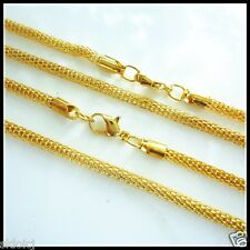 """NEW 6pcs Gold Plated Hollow Mesh Snake Chain Necklace 17.5""""W"""