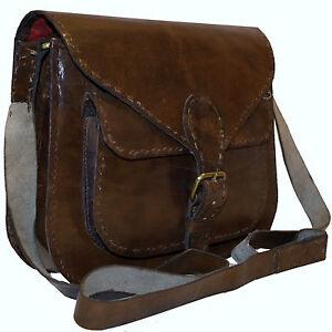 SALE - Handmade Real Leather Brown Vintage Retro Messenger Saddle Cross Body Bag