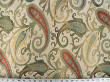 Drapery Upholstery Fabric Woven Jacquard Paisley Scrolls - Gold / Ivory