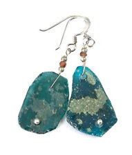 Ancient Roman Glass Earrings Green Opalescent Genuine Antique Sterling Silver