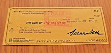 GREGORY PECK ORIGINAL HAND SIGNED AUTOGRAPHED CHECK November 16,1971