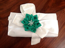 Flower Fabric Clutch Purse Brooch Embellished Floral Pendant White Green Bow New