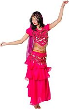 Ladies Traditional Pink Arabian Jasmine Belly Dancer Fancy Dress Costume Outfit