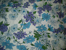 Gorgeous RETRO BLUE & PURPLE LARGE FLORAL VINTAGE FABRIC (50cm x 50cm)