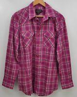 Pendleton Men's Pearl Snap Western Long Sleeve Shirt Size Medium Pink Plaid