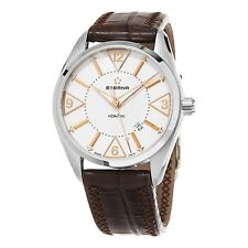 ETERNA KONTIKI Automatic Silver, Brown Leather w/ Date, 42mm, NEW BEAUTIFUL