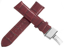 Aqua Master Mens 22mm Maroon Leather Watch Band Strap W/ Stainless Steel Buckle