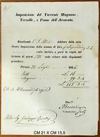 Firenze Torrente Mugnone Terzolle e Fosso dell'Arcovata documento tassa 1854