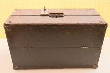 Vintage Industrial Wooden Tool Box with Vintage Padlock & Keys - Primitive