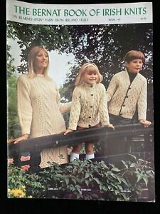 The Bernat Book of Irish Knits Sweater Cardigan Dress Hats Patterns 1967 Vtg