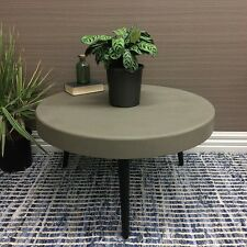 CONCRETE FINISH COFFEE TABLE WINE SIDE LAMP TIMBER ROUND HOME DECOR 74CM